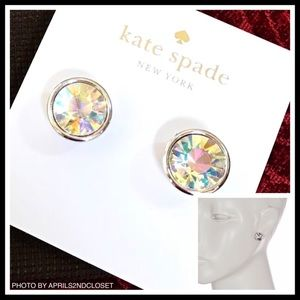 KATE SPADE BEZEL SET CRYSTAL ROUND STUD EARRINGS